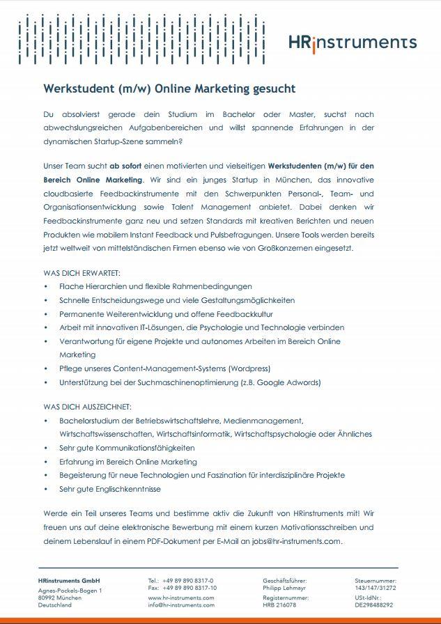 Werkstudent Mw Online Marketing München Psychjob