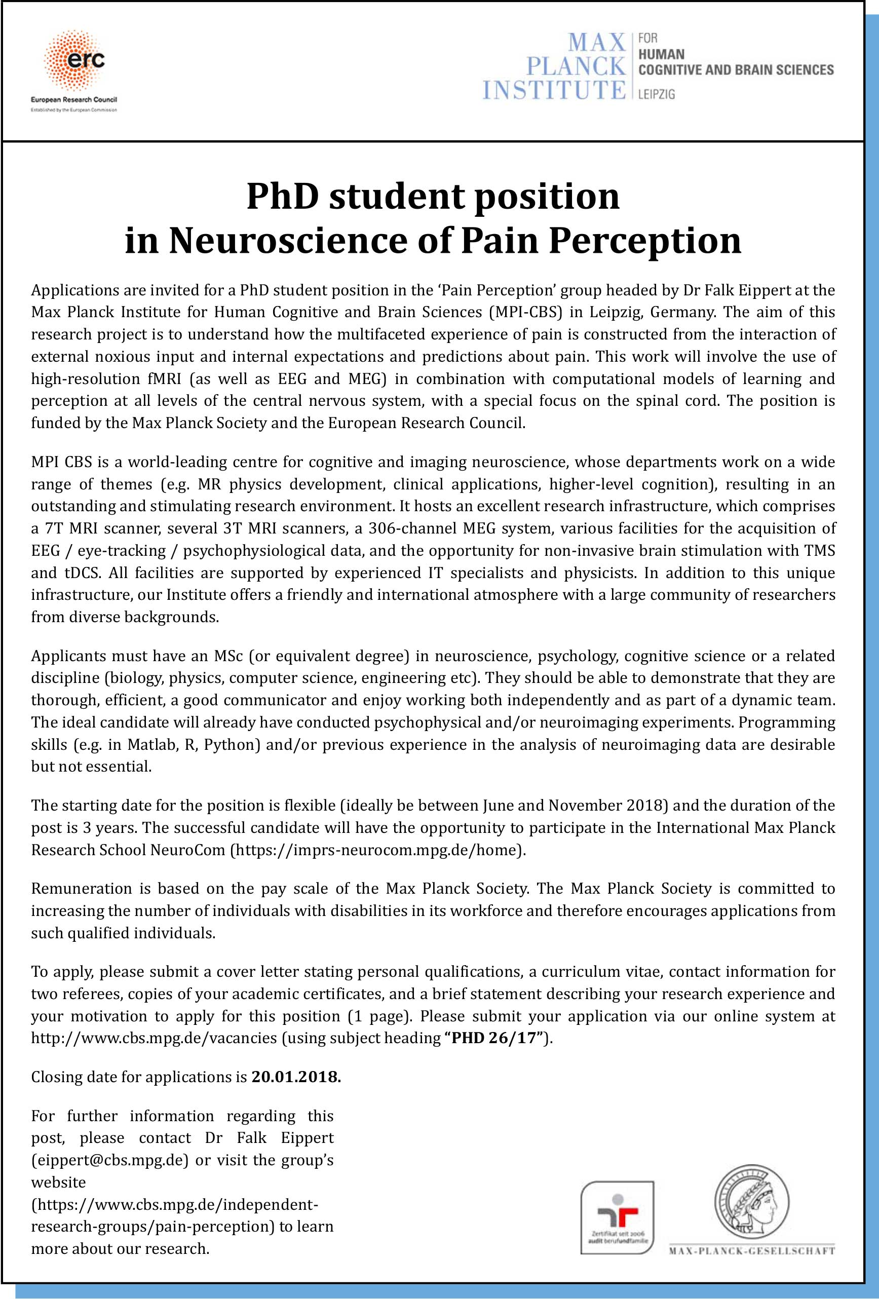 PhD student position in Neuroscience of Pain Perception