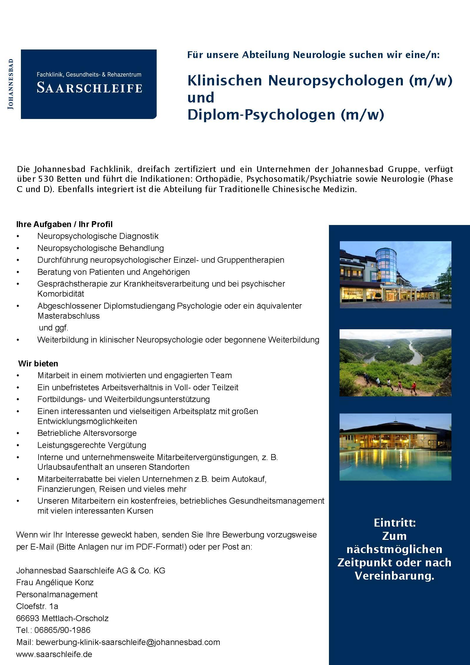 Klinischen Neuropsychologen (m/w) und Diplom-Psychologen (m/w ...