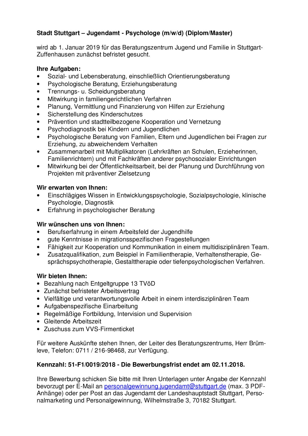 Psychologe (m/w/d) - Stuttgart   PsychJOB